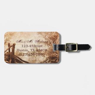 rustic western country farm wedding luggage tag