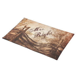 rustic western country farm wedding placemat