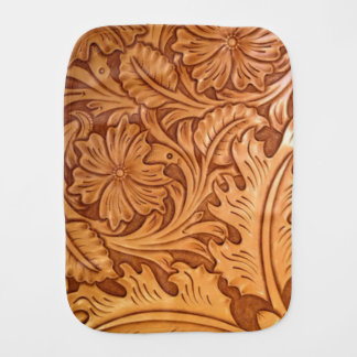Rustic western country pattern tooled leather burp cloth