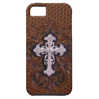 Rustic western country pattern tooled leather iPhone 5 cover