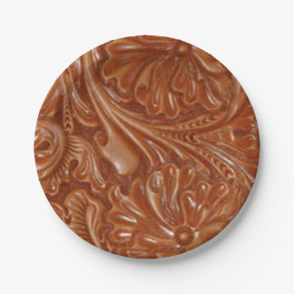 Rustic western country pattern tooled leather paper plate