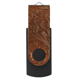 Rustic western country pattern tooled leather USB flash drive