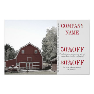 rustic western country red barn Organic farm 14 Cm X 21.5 Cm Flyer