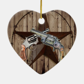 rustic western country texas star cowboy pistols christmas ornament