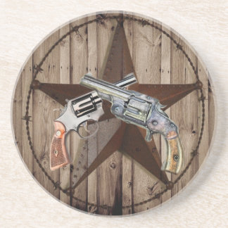 rustic western country texas star cowboy pistols coaster