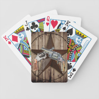 rustic western country texas star cowboy pistols poker deck