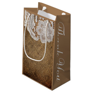 rustic western country wedding burlap and lace small gift bag
