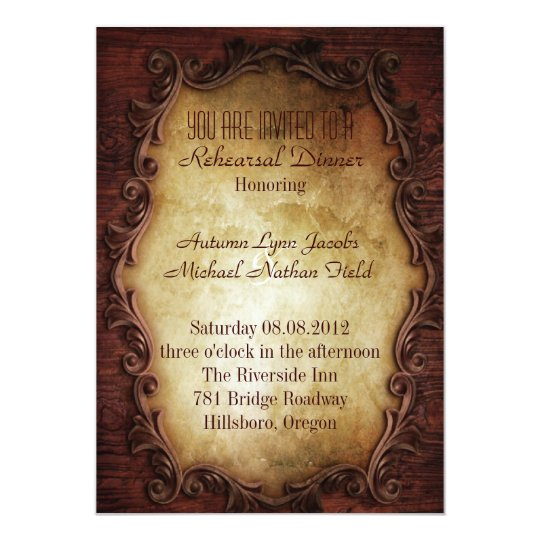 rustic western country wedding Rehearsal Dinner Card