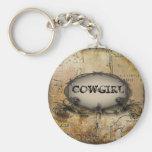 Rustic Western Cowgirl Keychain