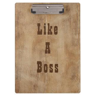 "Rustic western cowyboy ""like a boss"" clipboard"