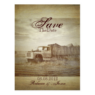 rustic western farm truck country savethedate post cards