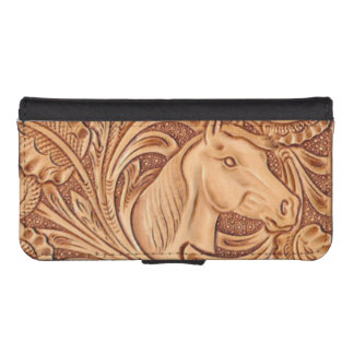 Rustic western Horse pattern tooled leather iPhone SE/5/5s Wallet Case