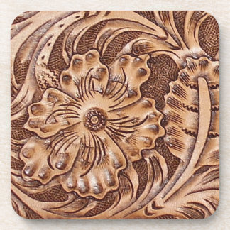 Rustic Western Ranch Tooled Leather-look I Beverage Coasters