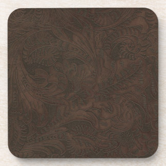Rustic Western Ranch Tooled Leather-look II Beverage Coaster
