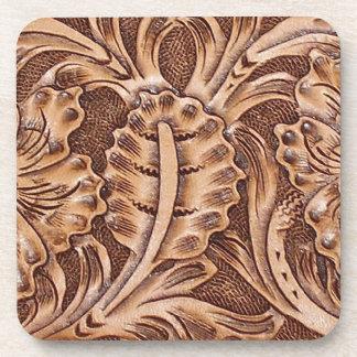 Rustic Western Ranch Tooled Leather-look II Beverage Coasters