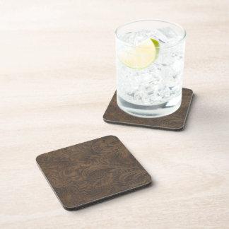 Rustic Western Ranch Tooled Leather-look III Beverage Coasters