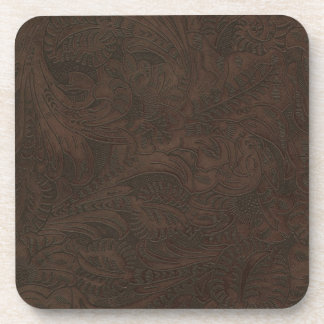 Rustic Western Ranch Tooled Leather-look III Coaster