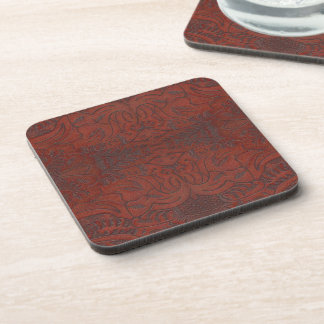 Rustic Western Ranch Tooled Leather-look III Beverage Coaster