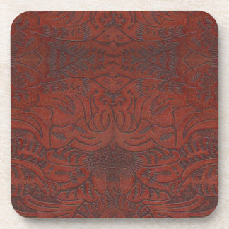 Rustic Western Ranch Tooled Leather-look III Drink Coasters