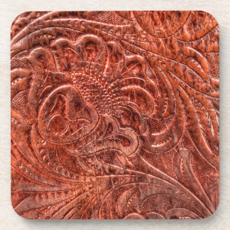 Rustic Western Ranch Tooled Leather-look IV Beverage Coaster