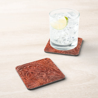 Rustic Western Ranch Tooled Leather-look IV Drink Coasters