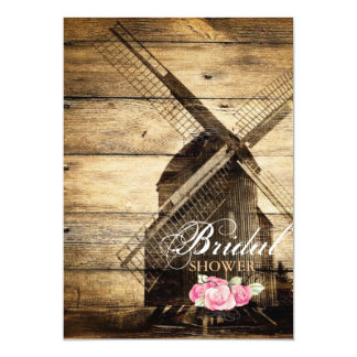 rustic western windmill Barn bridal shower Card