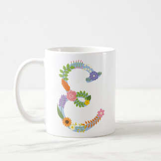 Rustic Whimsical Flower Monogram (E) Coffee Mug