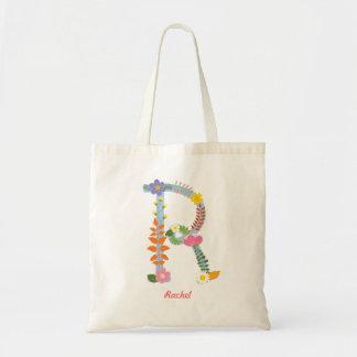 Rustic Whimsical Flower Monogram (R) Tote Bag