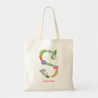 Rustic Whimsical Flower Monogram (S) Tote Bag