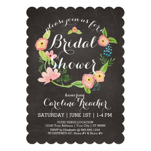 Rustic Whimsical Granny Chic Hipster Chalkboard Custom Invitations