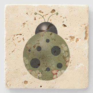 Rustic Whimsical Primitive Green Floral Ladybug Stone Beverage Coaster