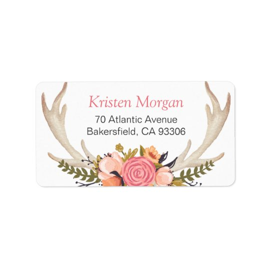 Rustic White Antler Beautiful Floral Decor Label