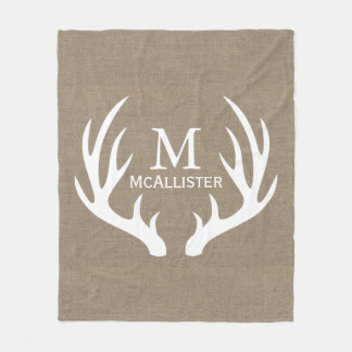 Rustic White Buck Antlers Faux Burlap Family Name Fleece Blanket