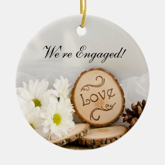 Rustic White Daisies Woodland Engagement Christmas Ornament