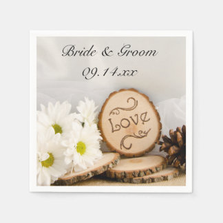 Rustic White Daisies Woodland Wedding Disposable Napkins