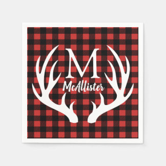 Rustic White Deer Antlers Buffalo Check Plaid Disposable Serviettes