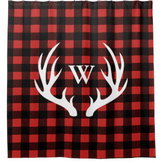 Rustic White Deer Antlers & Buffalo Check Plaid Shower Curtain