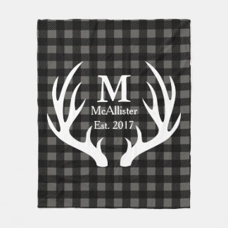 Rustic White Deer Antlers Check Plaid Family Name Fleece Blanket