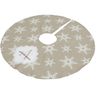 Rustic White Faux Burlap Snowflake Pattern Brushed Polyester Tree Skirt