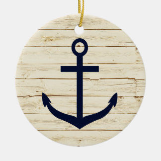 Rustic White Faux Wood with Anchor Christmas Ornament