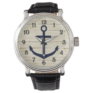 Rustic White Faux Wood with Anchor Watch