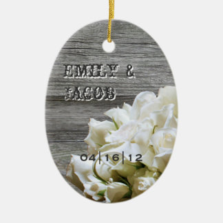 Rustic White Flowers Wedding Favor Ornament