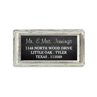 Rustic White Frame & Chalkboard Wedding Collection Address Label