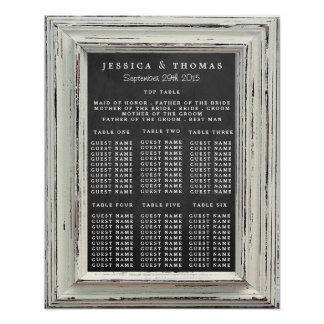 Rustic White Frame & Chalkboard Wedding Collection Poster