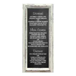 Rustic White Frame & Chalkboard Wedding Collection Rack Card