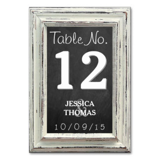 Rustic White Frame & Chalkboard Wedding Collection Table Cards