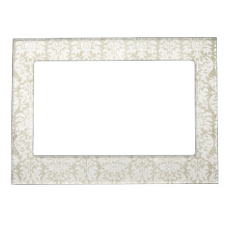 Rustic White Lace and Parchment with black accents Picture Frame Magnet