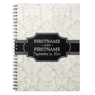 Rustic White Lace and Parchment with black accents Spiral Note Book