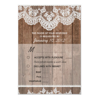 Rustic White Lace and Wood RSVP with Meal Options 9 Cm X 13 Cm Invitation Card