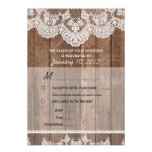 Rustic White Lace and Wood RSVP with Meal Options Personalized Invite
